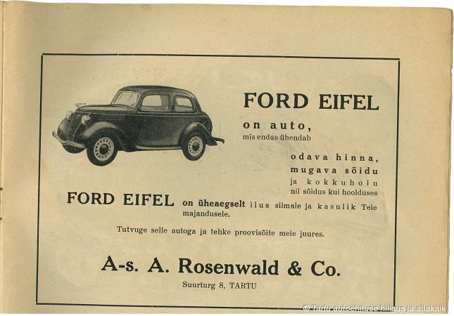 Aktsiaseltsi A. Rosendwald & Co reklaam, 1930ndad.