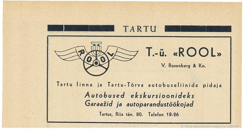 TÜ Rool reklaam ajakirjas «Teater», 9/1937