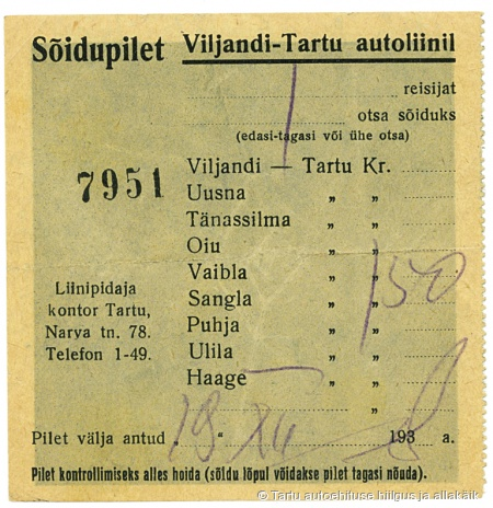 A. Koogi bussiettevõtte sõidupilet liinil Tartu-Oiu-Viljandi, 1938. a