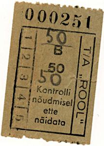 Natsionaliseeritud Tartu autobussipark Rool sõidupilet, 1941. a.