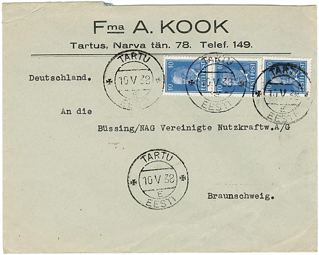 A. Koogi firmaümbrik, saadetud Saksamaale Büssing-NAG tehasesse.