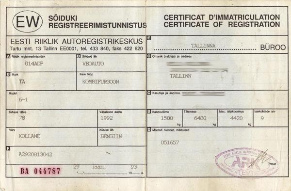 Autobussi TA-6-1 tehniline pass, milles ehitusaastaks märgitud 1992.
