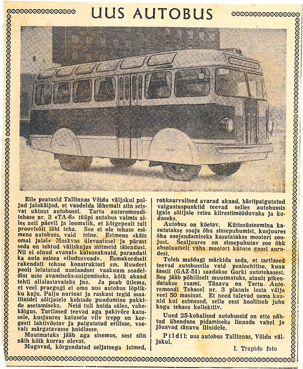 Uus autobuss TA-6 Tallinnas, Võidu väljakul. Teade ajalehest Edasi, 1956.